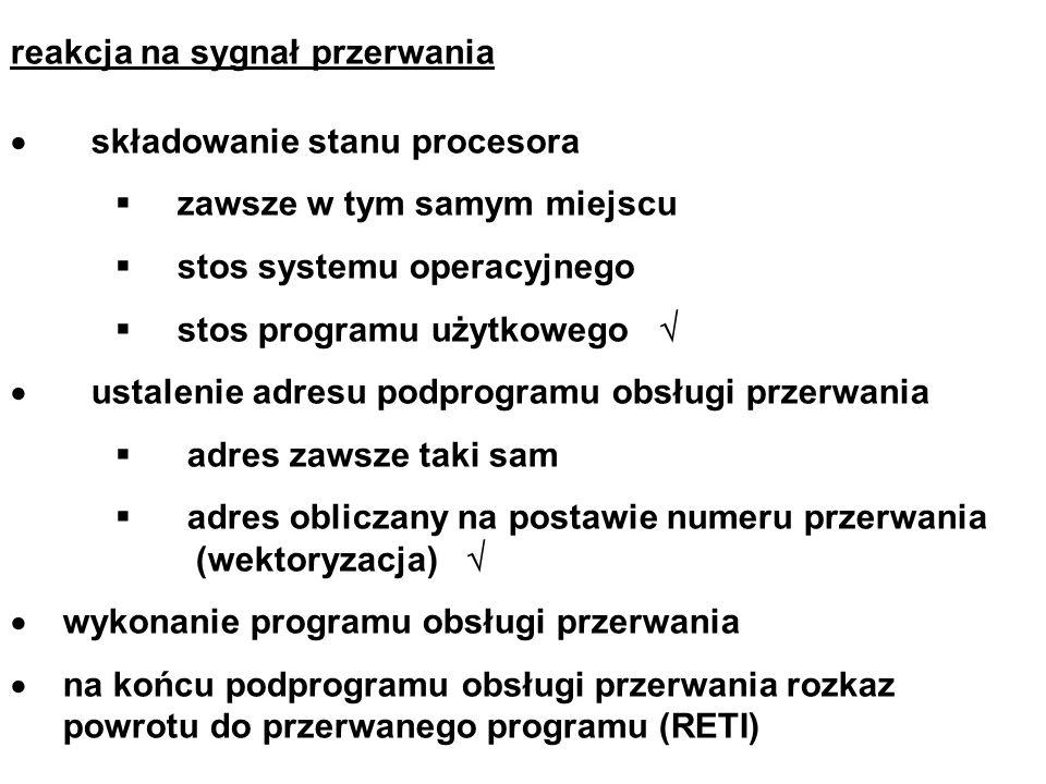reakcja na sygnał przerwania składowanie stanu procesora zawsze w tym samym miejscu stos systemu operacyjnego stos programu użytkowego ustalenie adres