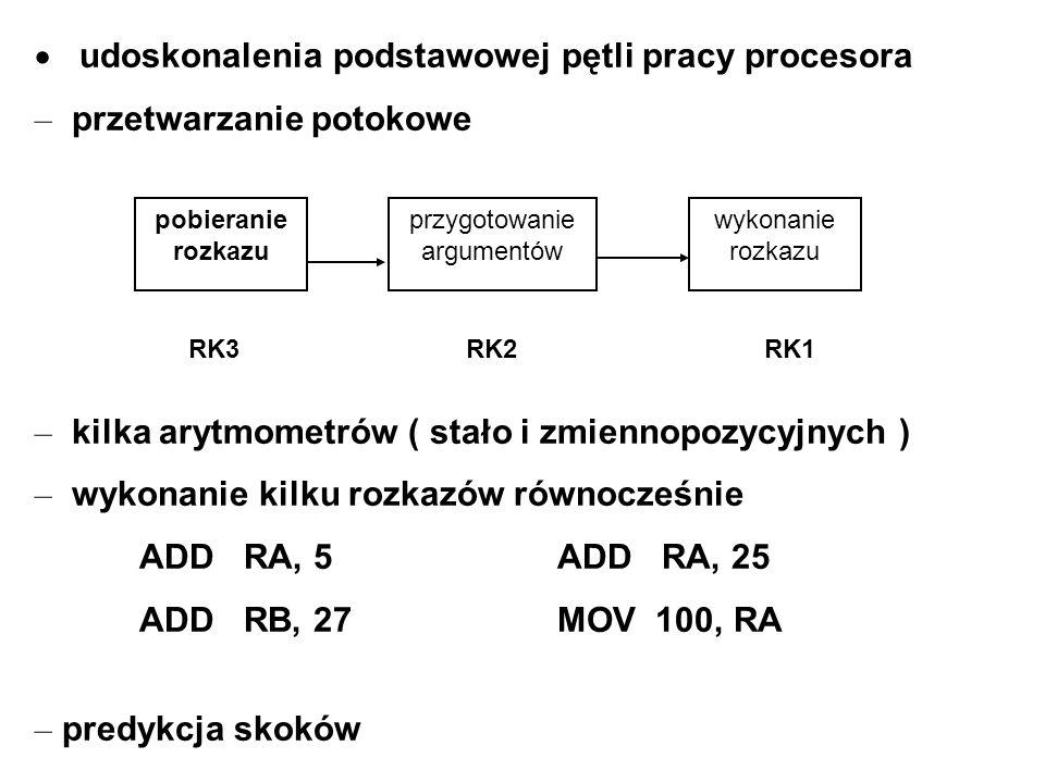 udoskonalenia podstawowej pętli pracy procesora – przetwarzanie potokowe – kilka arytmometrów ( stało i zmiennopozycyjnych ) – wykonanie kilku rozkazó