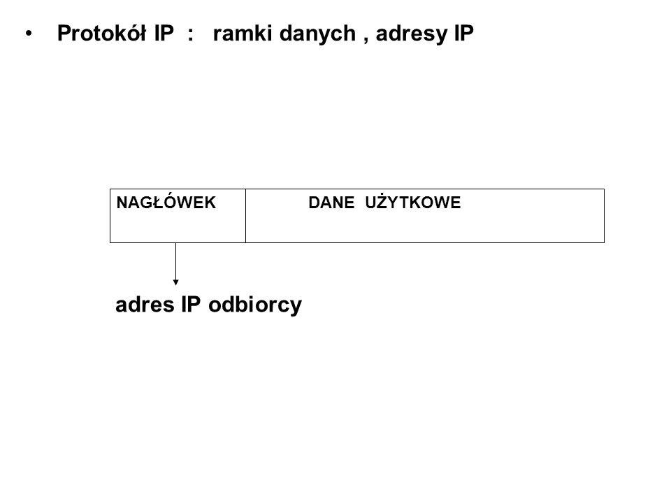 Protokół IP : ramki danych, adresy IP NAGŁÓWEK DANE UŻYTKOWE adres IP odbiorcy