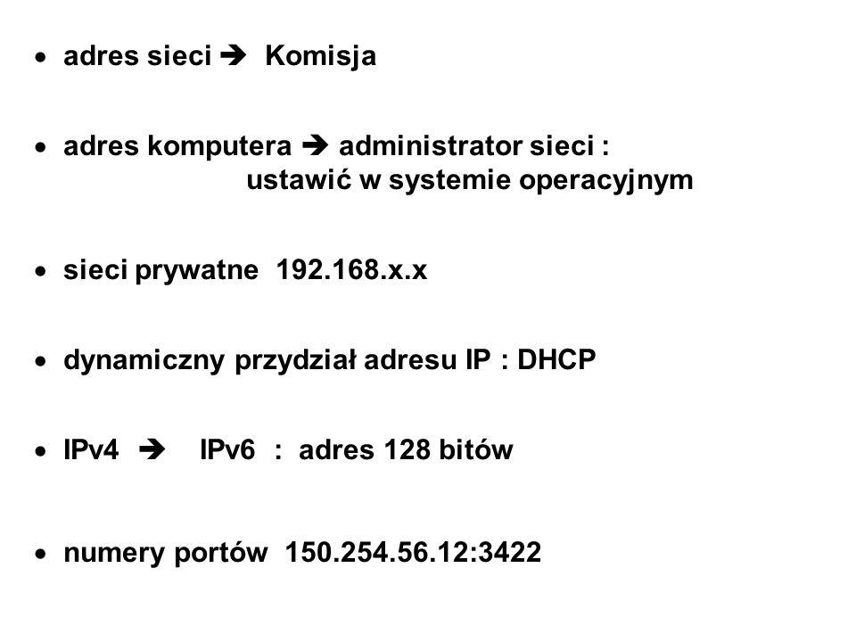 adres sieci Komisja adres komputera administrator sieci : ustawić w systemie operacyjnym sieci prywatne 192.168.x.x dynamiczny przydział adresu IP : D