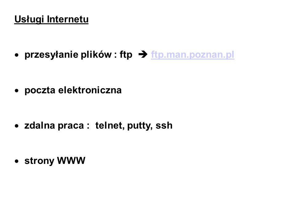 Usługi Internetu przesyłanie plików : ftp ftp.man.poznan.plftp.man.poznan.pl poczta elektroniczna zdalna praca : telnet, putty, ssh strony WWW