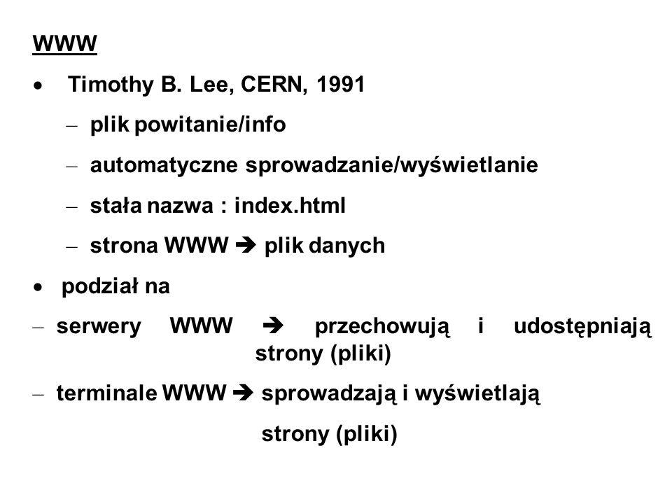 WWW Timothy B. Lee, CERN, 1991 – plik powitanie/info – automatyczne sprowadzanie/wyświetlanie – stała nazwa : index.html – strona WWW plik danych podz