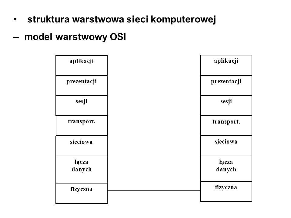 struktura warstwowa sieci komputerowej – model warstwowy OSI prezentacji sesji transport. sieciowa łącza danych fizyczna prezentacji sesji transport.