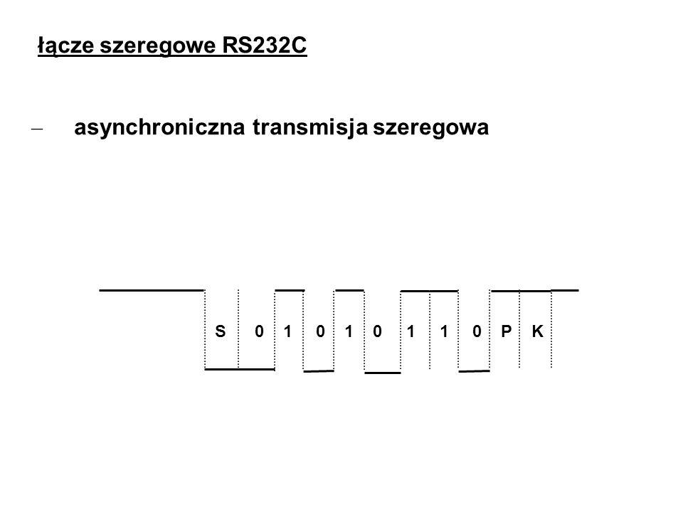łącze szeregowe RS232C – asynchroniczna transmisja szeregowa S 0 1 0 1 0 1 1 0 P K