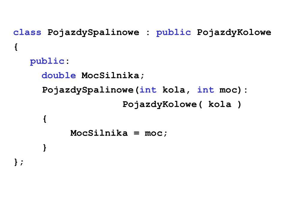 class PojazdySpalinowe : public PojazdyKolowe { public: double MocSilnika; PojazdySpalinowe(int kola, int moc): PojazdyKolowe( kola ) { MocSilnika = m