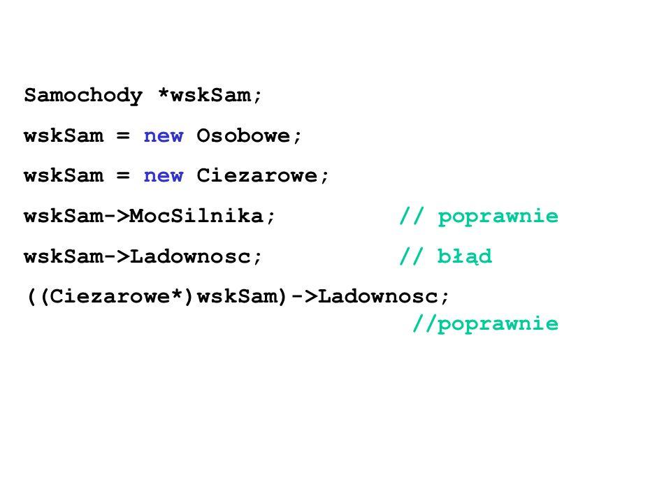 Samochody *wskSam; wskSam = new Osobowe; wskSam = new Ciezarowe; wskSam->MocSilnika; // poprawnie wskSam->Ladownosc; // błąd ((Ciezarowe*)wskSam)->Lad