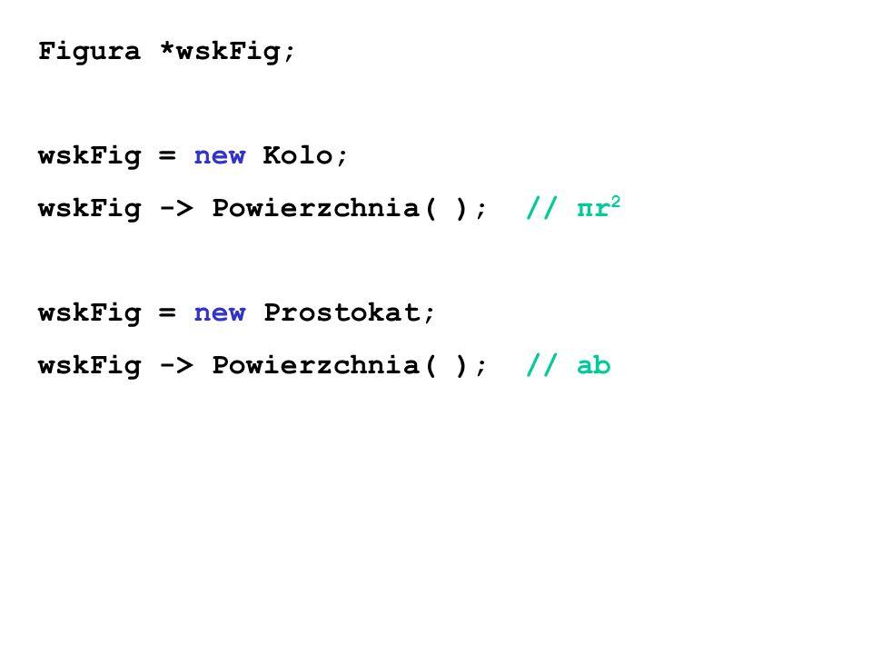 Figura *wskFig; wskFig = new Kolo; wskFig -> Powierzchnia( ); // πr 2 wskFig = new Prostokat; wskFig -> Powierzchnia( ); // ab