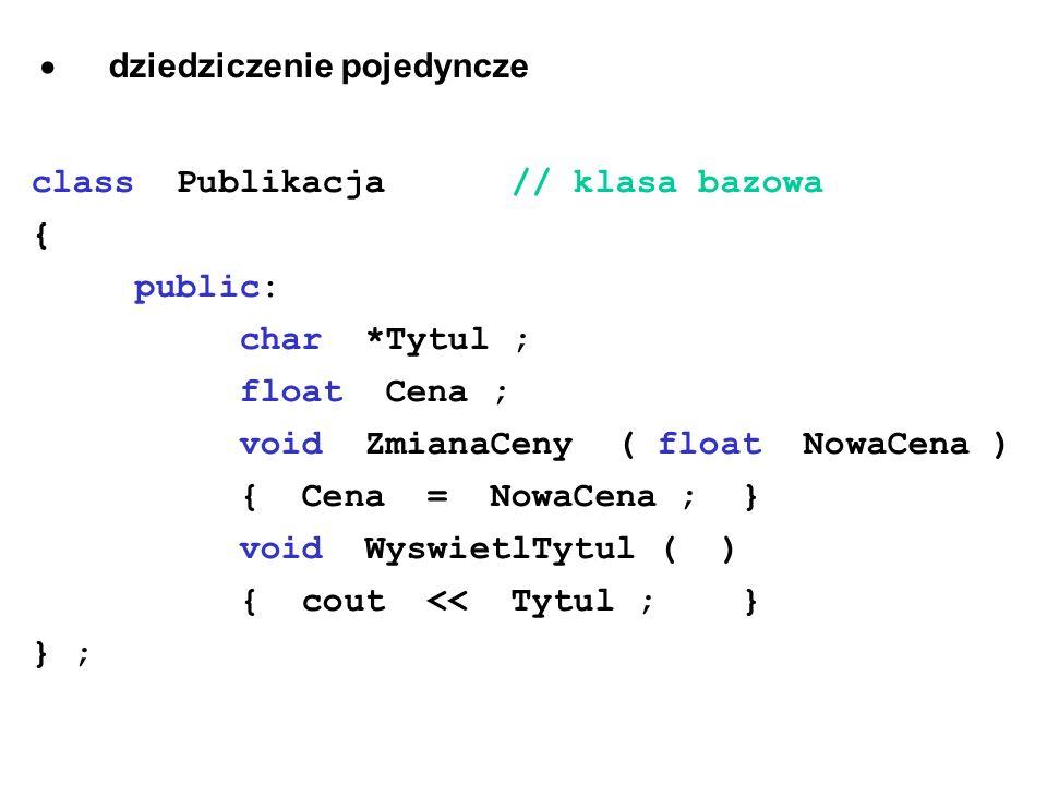 dziedziczenie pojedyncze class Publikacja // klasa bazowa { public: char *Tytul ; float Cena ; void ZmianaCeny ( float NowaCena ) { Cena = NowaCena ;