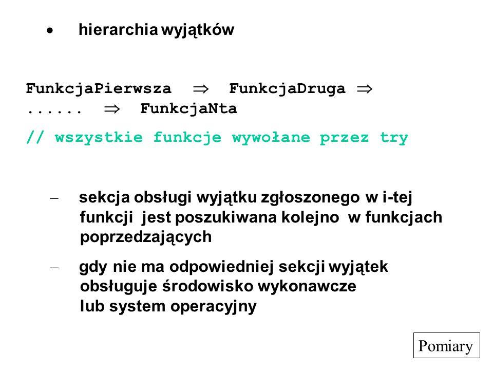 hierarchia wyjątków FunkcjaPierwsza FunkcjaDruga...... FunkcjaNta // wszystkie funkcje wywołane przez try – sekcja obsługi wyjątku zgłoszonego w i-tej