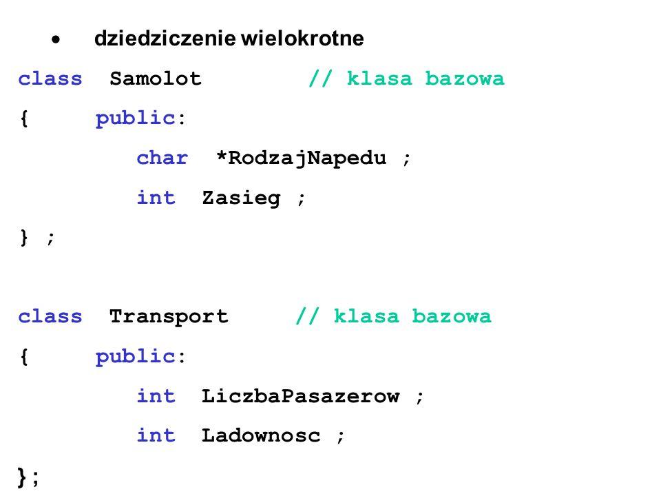 dziedziczenie wielokrotne class Samolot // klasa bazowa { public: char *RodzajNapedu ; int Zasieg ; } ; class Transport // klasa bazowa { public: int