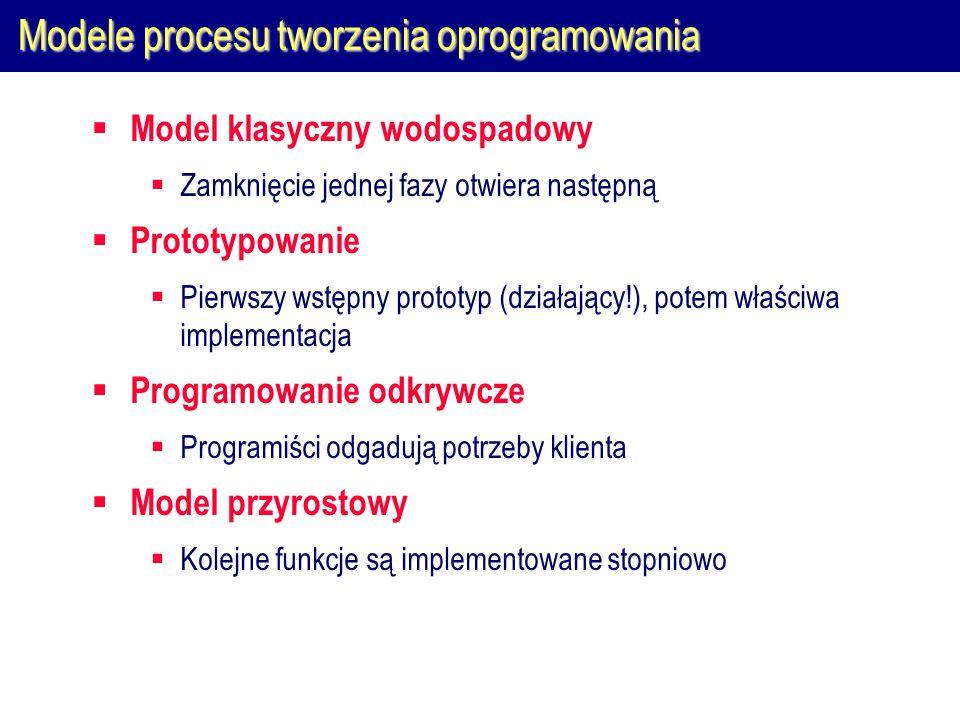 Modele procesu tworzenia oprogramowania Model klasyczny wodospadowy Zamknięcie jednej fazy otwiera następną Prototypowanie Pierwszy wstępny prototyp (