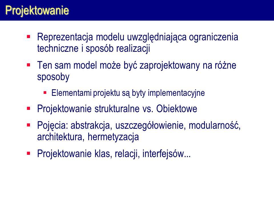 Projektowanie Reprezentacja modelu uwzględniająca ograniczenia techniczne i sposób realizacji Ten sam model może być zaprojektowany na różne sposoby E