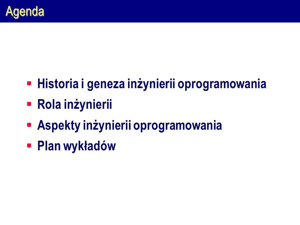 Agenda Historia i geneza inżynierii oprogramowania Rola inżynierii Aspekty inżynierii oprogramowania Plan wykładów