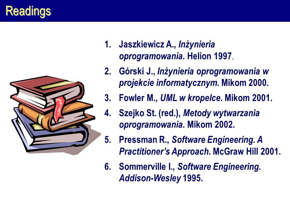 Readings 1.Jaszkiewicz A., Inżynieria oprogramowania. Helion 1997. 2.Górski J., Inżynieria oprogramowania w projekcie informatycznym. Mikom 2000. 3.Fo