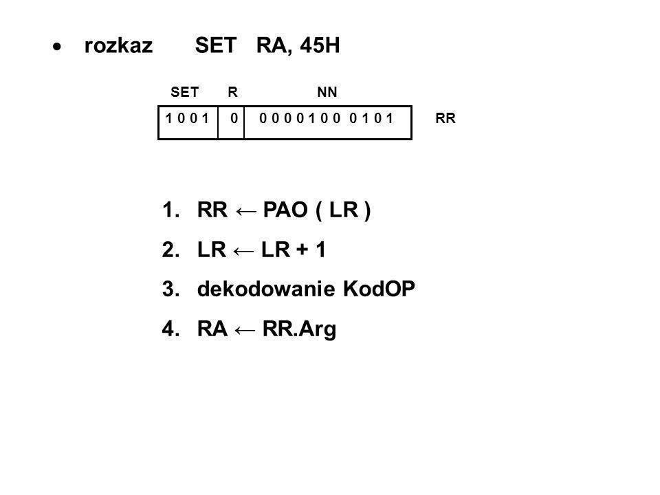 rozkaz SET RA, 45H 1 0 0 1 0 0 0 0 0 1 0 0 0 1 0 1 RR SET R NN 1.