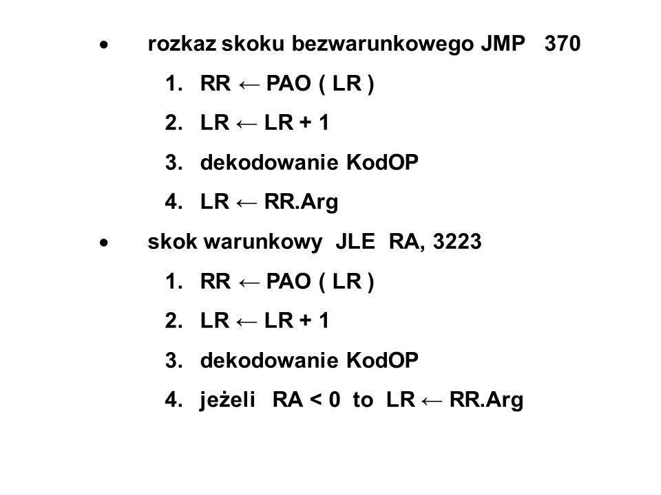 rozkaz skoku bezwarunkowego JMP 370 1. RR PAO ( LR ) 2.