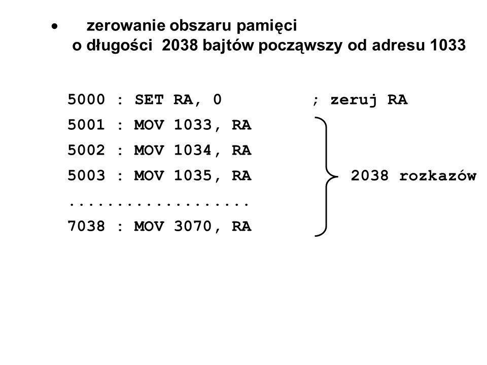 zerowanie obszaru pamięci o długości 2038 bajtów począwszy od adresu 1033 5000 : SET RA, 0; zeruj RA 5001 : MOV 1033, RA 5002 : MOV 1034, RA 5003 : MOV 1035, RA...................