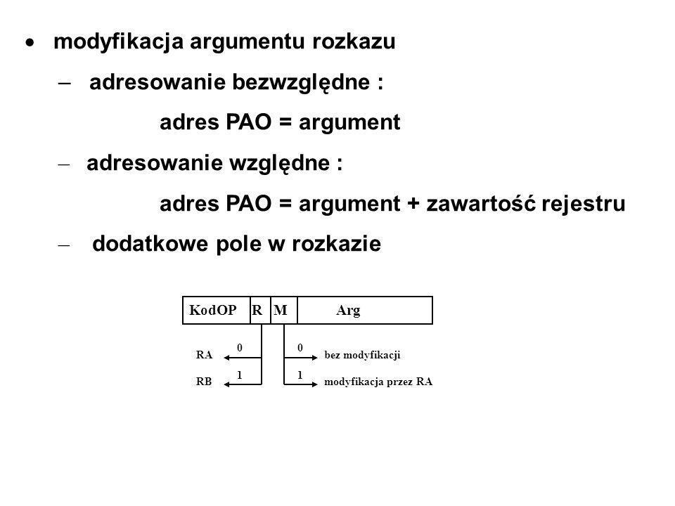 modyfikacja argumentu rozkazu – adresowanie bezwzględne : adres PAO = argument – adresowanie względne : adres PAO = argument + zawartość rejestru – dodatkowe pole w rozkazie KodOP R M Arg 0101 0101 RA RB bez modyfikacji modyfikacja przez RA