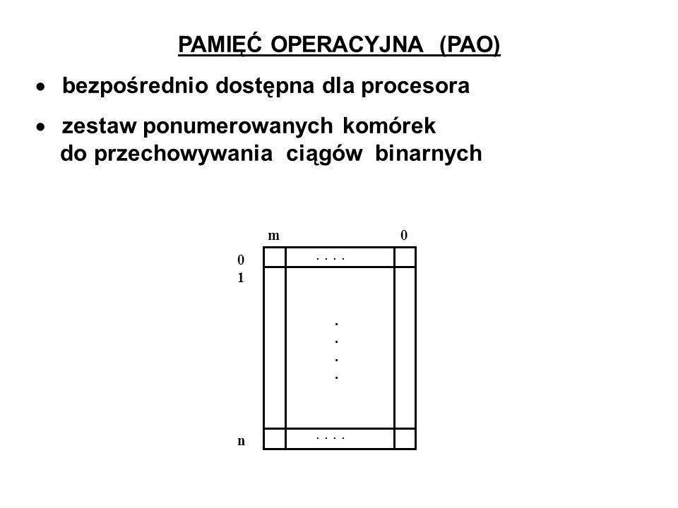 PAMIĘĆ OPERACYJNA (PAO) bezpośrednio dostępna dla procesora zestaw ponumerowanych komórek do przechowywania ciągów binarnych 01n01n m 0............
