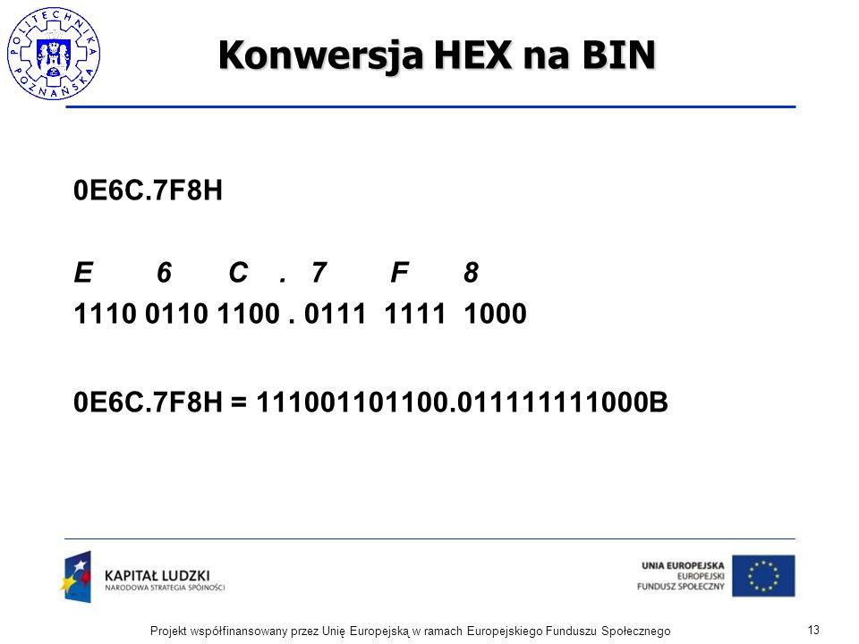 Konwersja HEX na BIN 0E6C.7F8H E 6 C. 7 F 8 1110 0110 1100. 0111 1111 1000 0E6C.7F8H = 111001101100.011111111000B 13 Projekt współfinansowany przez Un
