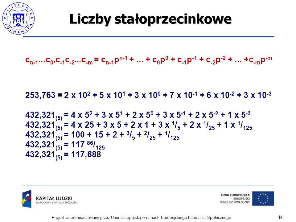 Liczby stałoprzecinkowe c n-1...c 0,c -1 c -2...c -m = c n-1 p n-1 +... + c 0 p 0 + c -1 p -1 + c -2 p -2 +... +c -m p -m 253,763 = 2 x 10 2 + 5 x 10