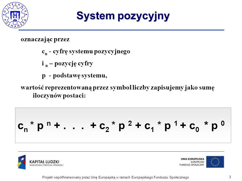 System pozycyjny oznaczając przez c n - cyfrę systemu pozycyjnego i n – pozycję cyfry p - podstawę systemu, wartość reprezentowaną przez symbol liczby
