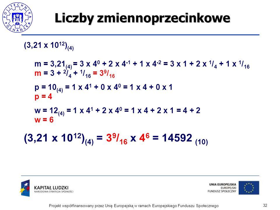 Liczby zmiennoprzecinkowe (3,21 x 10 12 ) (4) m = 3,21 (4) = 3 x 4 0 + 2 x 4 -1 + 1 x 4 -2 = 3 x 1 + 2 x 1 / 4 + 1 x 1 / 16 m = 3 + 2 / 4 + 1 / 16 = 3