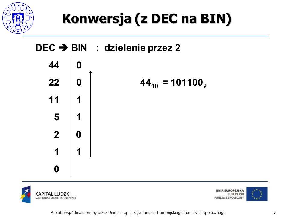 Konwersja (z DEC na BIN) 8 Projekt współfinansowany przez Unię Europejską w ramach Europejskiego Funduszu Społecznego DEC BIN : dzielenie przez 2 44 0