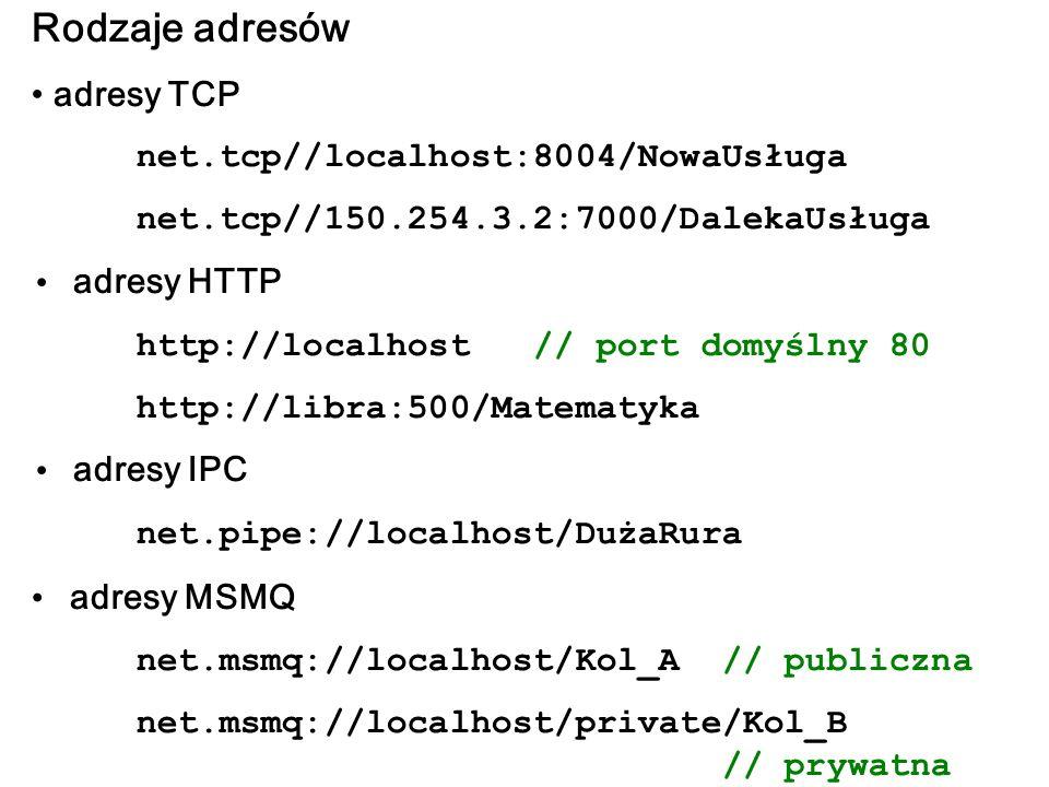 Rodzaje adresów adresy TCP net.tcp//localhost:8004/NowaUsługa net.tcp//150.254.3.2:7000/DalekaUsługa adresy HTTP http://localhost // port domyślny 80