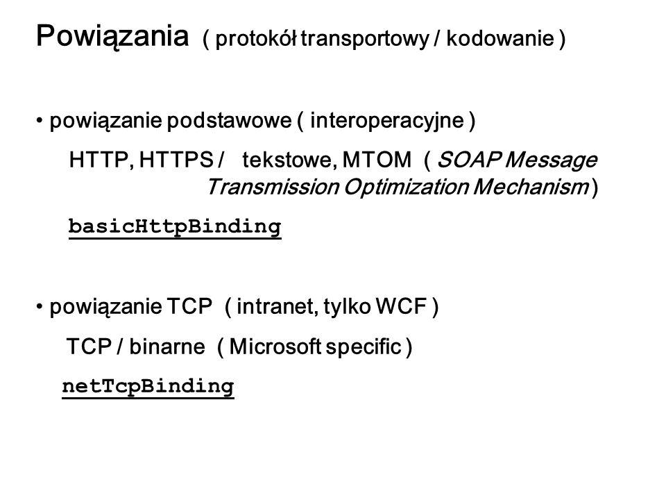 Powiązania ( protokół transportowy / kodowanie ) powiązanie podstawowe ( interoperacyjne ) HTTP, HTTPS / tekstowe, MTOM ( SOAP Message Transmission Op
