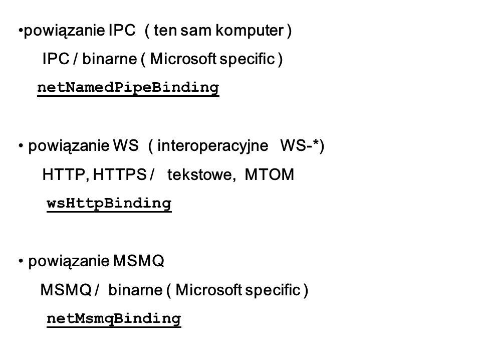 powiązanie IPC ( ten sam komputer ) IPC / binarne ( Microsoft specific ) netNamedPipeBinding powiązanie WS ( interoperacyjne WS-*) HTTP, HTTPS / tekst