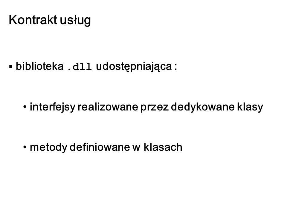 Kontrakt usług biblioteka.dll udostępniająca : interfejsy realizowane przez dedykowane klasy metody definiowane w klasach