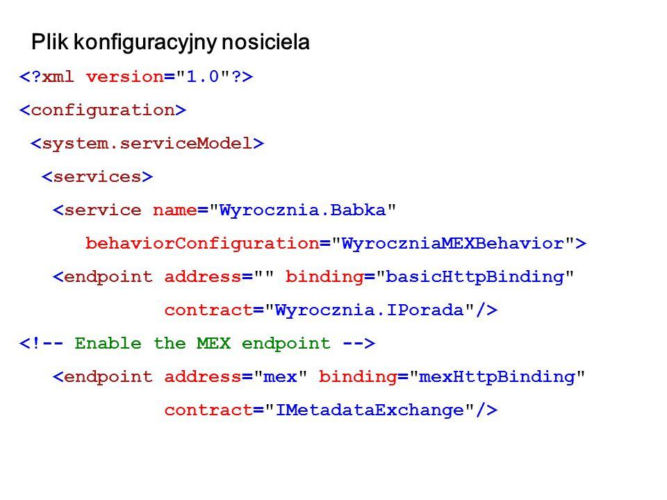 Plik konfiguracyjny nosiciela <service name=