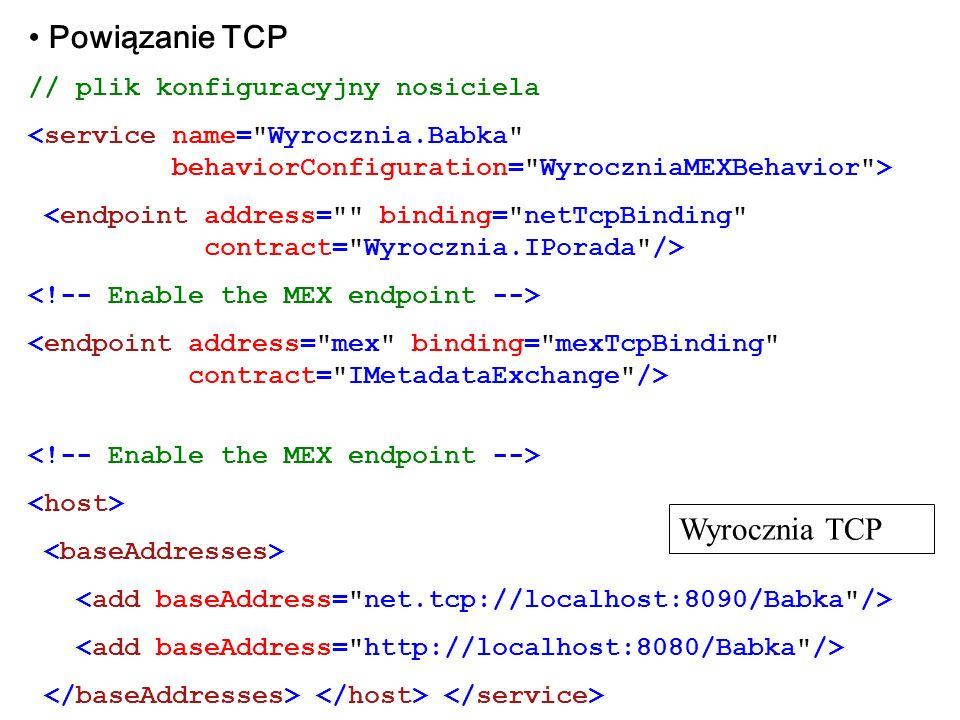 Powiązanie TCP // plik konfiguracyjny nosiciela Wyrocznia TCP
