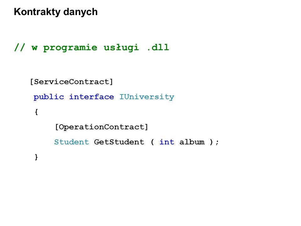 Kontrakty danych // w programie usługi.dll [ServiceContract] public interface IUniversity { [OperationContract] Student GetStudent ( int album ); }