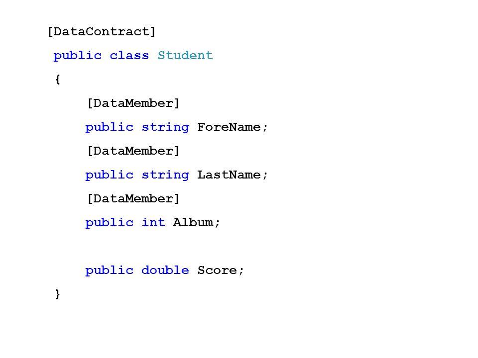 [DataContract] public class Student { [DataMember] public string ForeName; [DataMember] public string LastName; [DataMember] public int Album; public