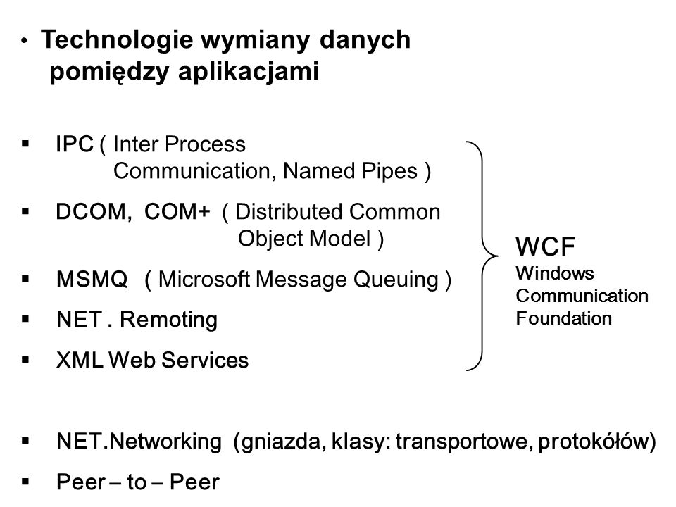 Technologie wymiany danych pomiędzy aplikacjami IPC ( Inter Process Communication, Named Pipes ) DCOM, COM+ ( Distributed Common Object Model ) MSMQ (
