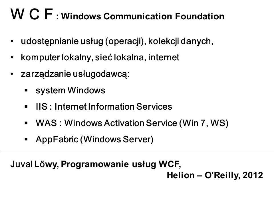 W C F : Windows Communication Foundation udostępnianie usług (operacji), kolekcji danych, komputer lokalny, sieć lokalna, internet zarządzanie usługod