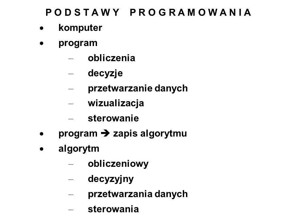P O D S T A W Y P R O G R A M O W A N I A komputer program – obliczenia – decyzje – przetwarzanie danych – wizualizacja – sterowanie program zapis alg
