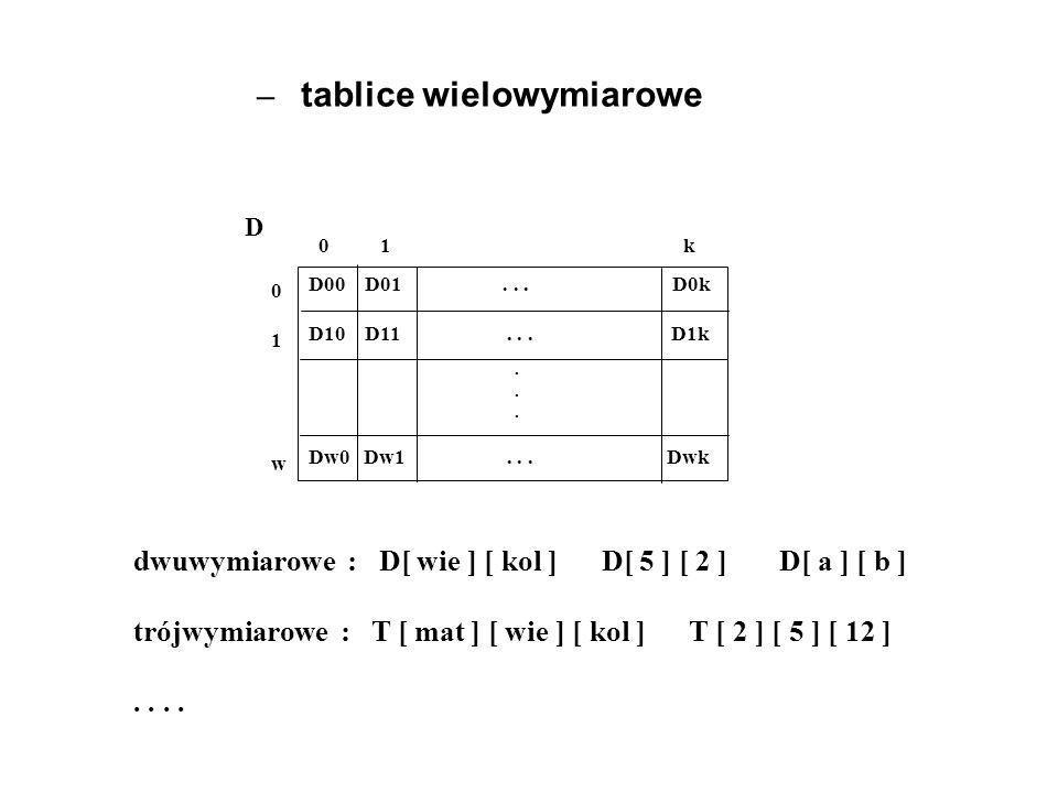 D 0 1 k 01w01w dwuwymiarowe : D[ wie ] [ kol ] D[ 5 ] [ 2 ] D[ a ] [ b ] trójwymiarowe : T [ mat ] [ wie ] [ kol ] T [ 2 ] [ 5 ] [ 12 ].. D00 D01... D