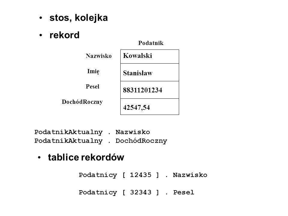 stos, kolejka rekord Kowalski Stanisław 88311201234 42547,54 Podatnik Nazwisko Imię Pesel DochódRoczny PodatnikAktualny. Nazwisko PodatnikAktualny. Do