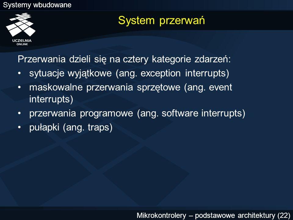 Systemy wbudowane Mikrokontrolery – podstawowe architektury (22) System przerwań Przerwania dzieli się na cztery kategorie zdarzeń: sytuacje wyjątkowe
