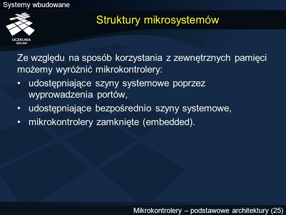 Systemy wbudowane Mikrokontrolery – podstawowe architektury (25) Struktury mikrosystemów Ze względu na sposób korzystania z zewnętrznych pamięci możem