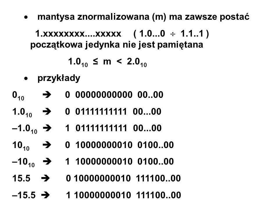 mantysa znormalizowana (m) ma zawsze postać 1.xxxxxxxx....xxxxx ( 1.0...0 1.1..1 ) początkowa jedynka nie jest pamiętana 1.0 10 m < 2.0 10 przykłady 0 10 0 00000000000 00..00 1.0 10 0 01111111111 00...00 –1.0 10 1 01111111111 00...00 10 10 0 10000000010 0100..00 –10 10 1 10000000010 0100..00 15.5 0 10000000010 111100..00 –15.5 1 10000000010 111100..00