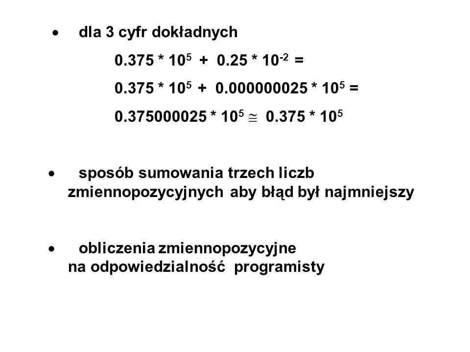 dla 3 cyfr dokładnych 0.375 * 10 5 + 0.25 * 10 -2 = 0.375 * 10 5 + 0.000000025 * 10 5 = 0.375000025 * 10 5 0.375 * 10 5 sposób sumowania trzech liczb zmiennopozycyjnych aby błąd był najmniejszy obliczenia zmiennopozycyjne na odpowiedzialność programisty