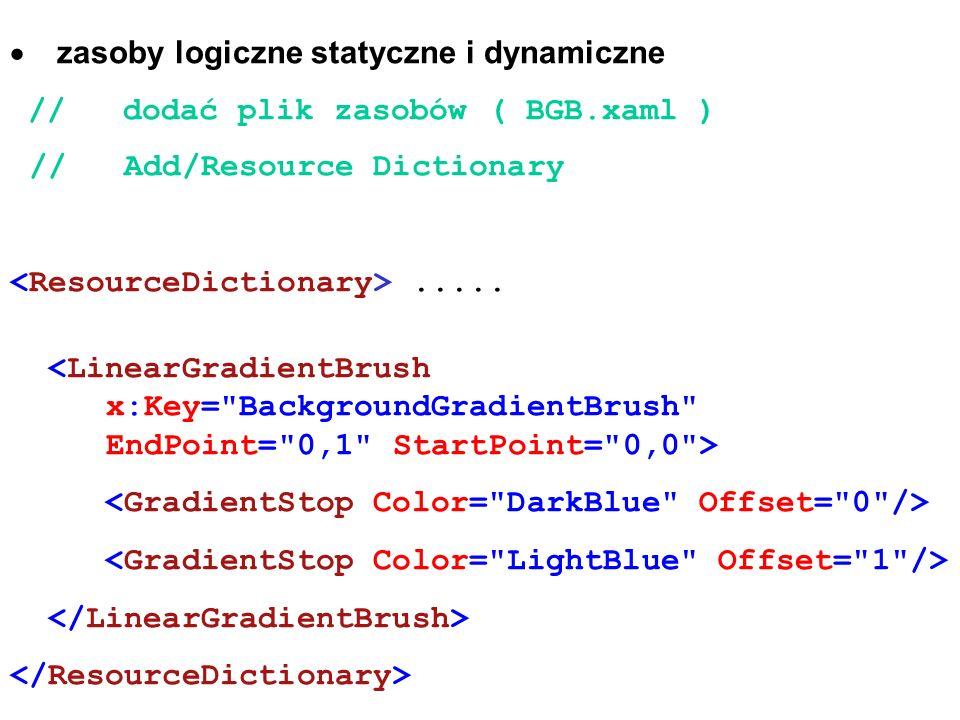 zasoby logiczne statyczne i dynamiczne // dodać plik zasobów ( BGB.xaml ) // Add/Resource Dictionary.....