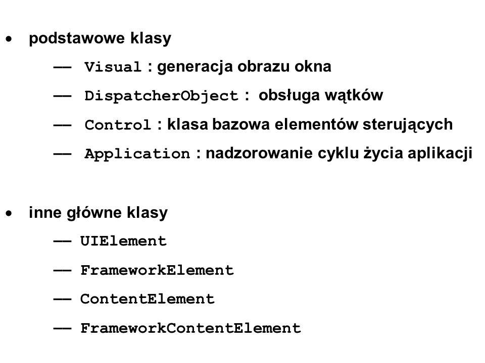 podstawowe klasy –– Visual : generacja obrazu okna –– DispatcherObject : obsługa wątków –– Control : klasa bazowa elementów sterujących –– Application : nadzorowanie cyklu życia aplikacji inne główne klasy –– UIElement –– FrameworkElement –– ContentElement –– FrameworkContentElement