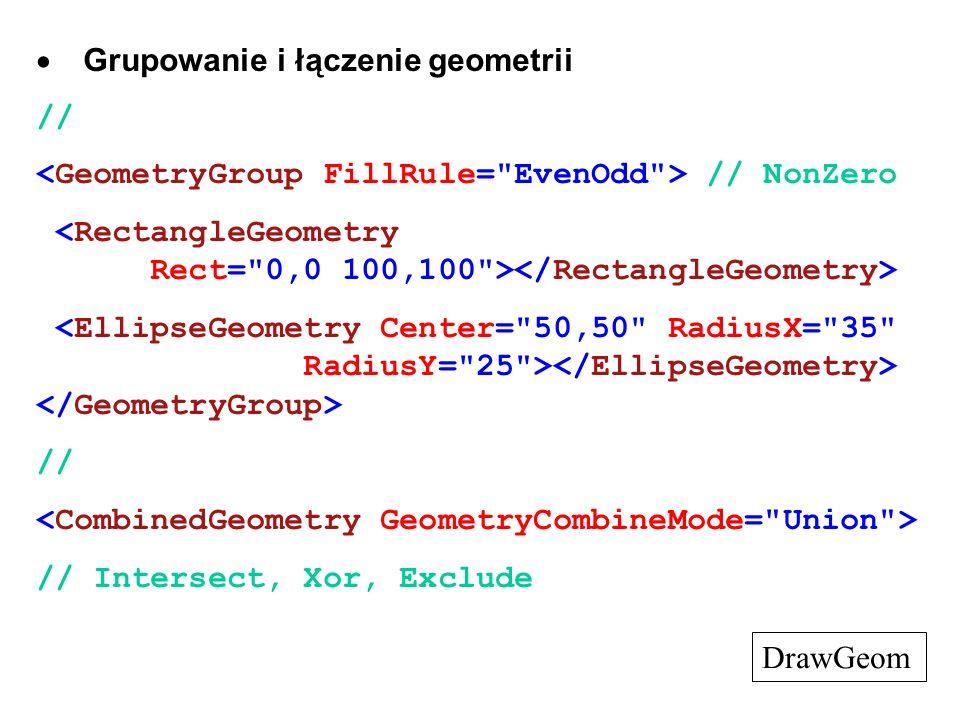 Grupowanie i łączenie geometrii // // NonZero // // Intersect, Xor, Exclude DrawGeom