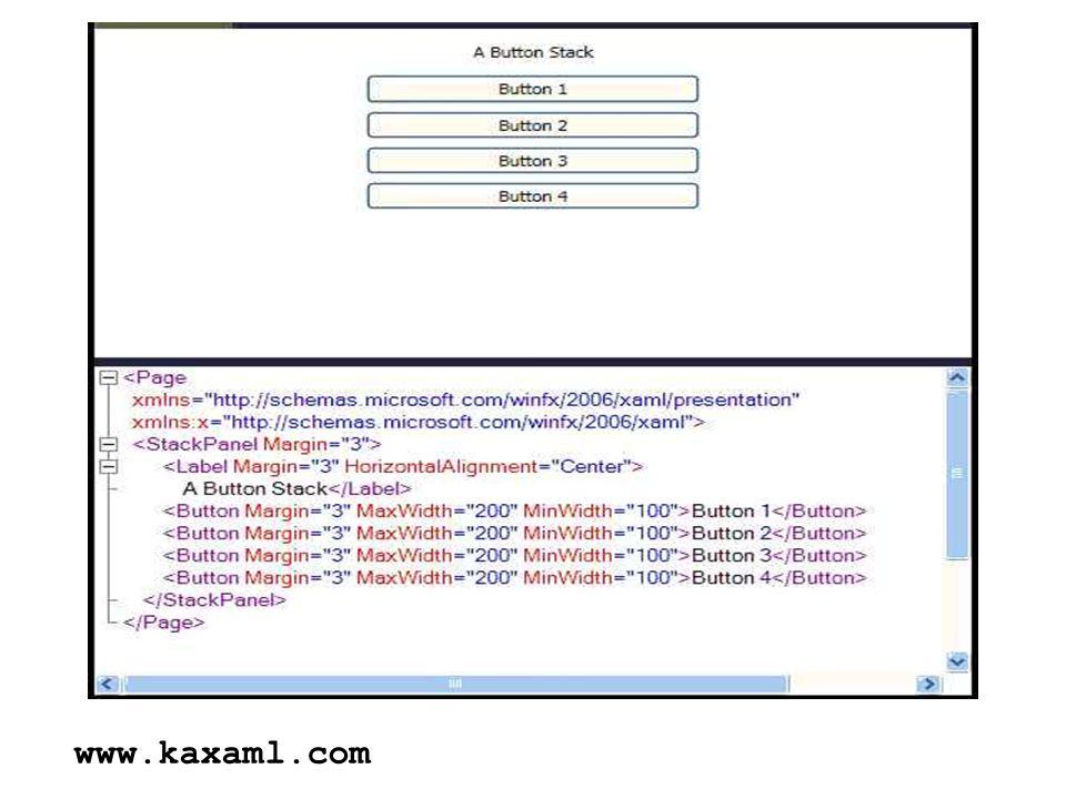 aplikacje WPF mogą nie korzystać z XAML // 1 - przybornik + właściwości // 2 - C# System.Windows.Controls.Button btn = new Button(); btn.Content = Duś ; // 3 - XAML // lub Duś // XAML udostępnia podzbiór możliwości C# NewButton