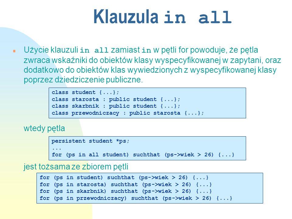 Indeksy (1) n Używane tylko w przypadku klauzuli suchthat n Typy u hash u B-tree n Tylko specyficzne (proste) warunki n W przypadku warunków złożonych z kilku atrybutów, na których założone są indeksy wykorzystany będzie tylko jeden z nich n Ograniczenia u zakres indeksu zawsze jest ograniczony do obiektów klasy znajdujących się w jednym klastrze u tylko jeden index na danym atrybucie klasy w klastrze u BuiltIndex ostatnią operacją w transakcji u Przed założeniem należy sprawdzić czy już nie istnieje